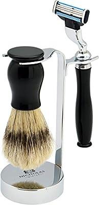 Nicholas Winter 3 Piece Black/Silver Traditional Shaving Set. Brush, Razor & Stand. Mach 3 Compatible