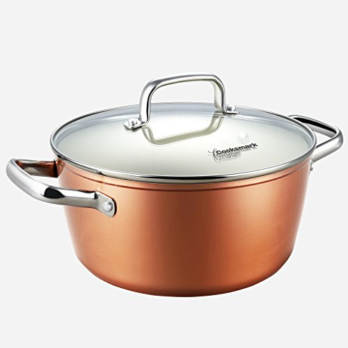 10-piece Pots and Pans Set, Cooksmark Ceranano Ceramic Nonstick Dishwasher Safe Oven Safe Copper Finish Cookware Set