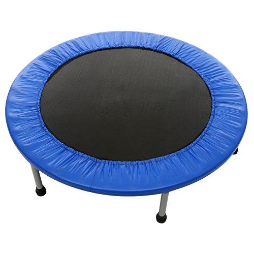 Fitness Trampolin Jumper, Gartentrampolin, Indoor-/Outdoortrampolin, Belastbarkeit ca. 100 kg, Durchmesser Ø ca. 91-137cm, 6-8 stabile Füße + Sicherheitspolster rundherum (nicht gefaltet , Durchmesser ca. 91cm blau)