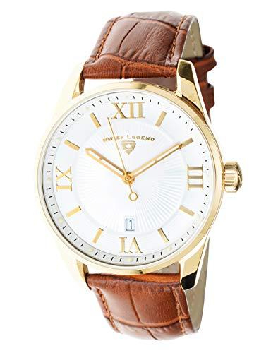 Swiss Legend Herren-Armbanduhr Belleza Analog Schweizer Quarz weißes Zifferblatt und goldfarbenes Edelstahlgehäuse mit braunem Lederarmband 22012-YG-02-BR