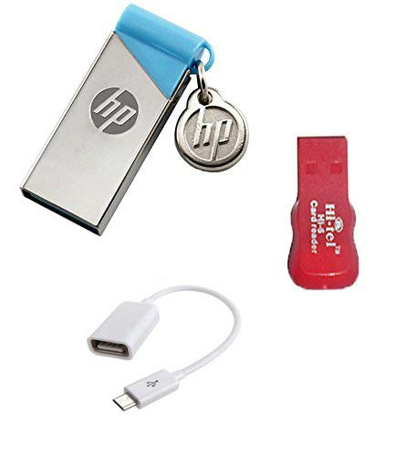 HP V215B 64 GB Metal Pendrive with OTG Cable and Card Reader