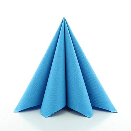 Sovie HORECA Airlaid-Servietten 40x40 cm | hochwertige Einweg-Servietten | extrem saugstark und stoffähnlich | ideal für Hochzeit & Partys | 50 Stück | Aqua-Blau