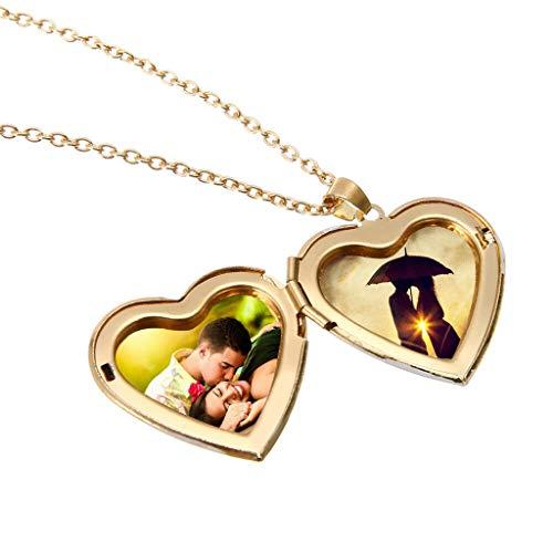 Frame Mini Anhänger (Mypace Anhänger Gold Silber 925 Für Damen Retro herzförmige Halskette Medaillon Mini Foto Frame Box Anhänger für Frauen Charme)