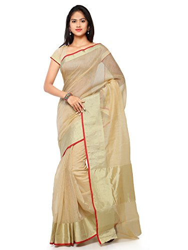 KANCHNAR Women's Cotton Saree With Blouse Piece (228S325, Golden And Beige, Free...