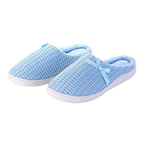 Pantofole Da Donna In Cashmere Con Fodera In Cashmere E Fodera In Gomma Antiscivolo Blu