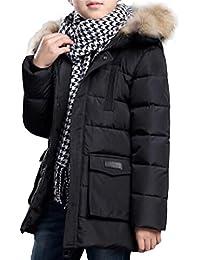 Ghope 7-16 ans Garçons Veste Enfants d'hiver Manteau à Capuchon pour Garçons Double Intérieure Rembourrée Veston Parka Hiver Manteau Longue