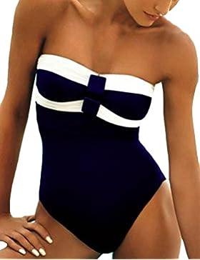 Tankini Costumi da Nuoto - Costume da Bagno Donna Due Pezzi Senza Spalline Bandeau Slim Fit Estate Bikini da Mare...