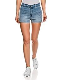 oodji Ultra Femme Short Basique en Jean à Taille Haute