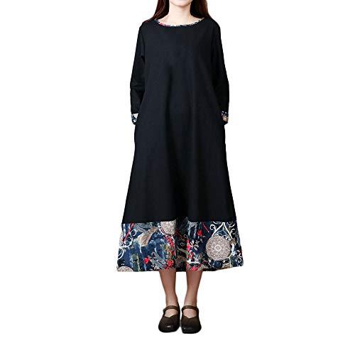 (JiaMeng Heißer Frauen Damen Plus Size Folk Benutzerdefinierte Lose Lange Ärmel Spleißen Baumwolle Und Leinen Kleid)