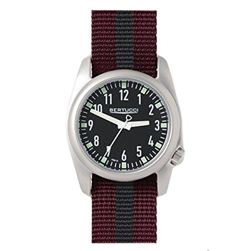 Bertucci 11061Crimson und schwarz Nylon Strap Band Schwarz Zifferblatt Armbanduhr (Bertucci-uhren Männer Für)