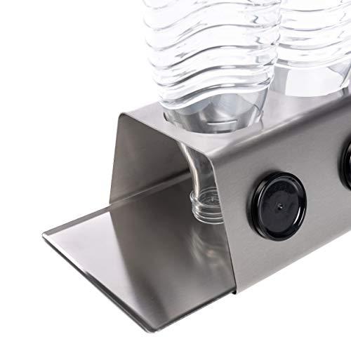 Streambrush Premium Abtropfhalter aus Edelstahl Abtropfständer für z.B. Sodastream Crystal & Emil Flaschen - Flaschenhalter mit ausziehbarer Abtropfschale | Made in Germany (3 X Edelstahl)