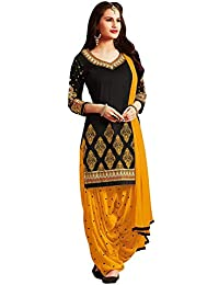 Y2Y Women's Crepe Unstitched Salwar Suit (Salwar suit Dress Material For Women_Black_Free Size)