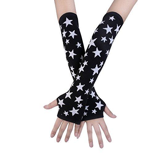 JISEN negro Punk Gothic Rock de punto suave brazo calentador guantes sin dedos - -