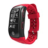 TechCode Smart Armband Fitness Tracker, Fitness Smart Armband Bluetooth Pulsmesser IP68 Wasserdicht GPS Smart Band Armband Tracker Smartband Uhr für iOS Android Handys Telefon(S908-Rot)