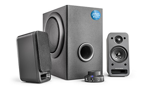 Wavemaster MX3+ BT - Kit d'enceintes 2.1 Stereo Bluetooth (50 Watt) Pour TV, gaming, smartphone, PC, tablette