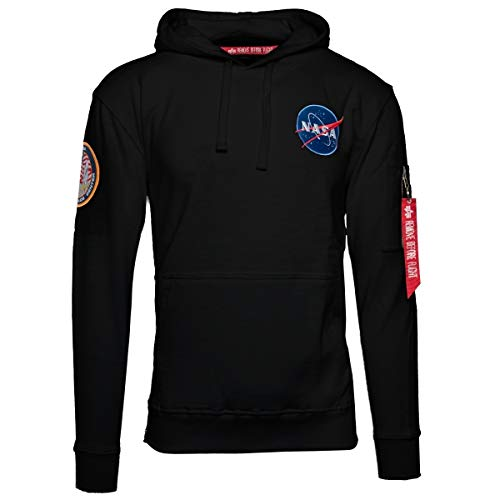 Alpha Industries Men Hoodie Apollo 11, Größe:L, Farbe:black