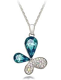 VANKER 1Pc colgante cristal de diamante de la mariposa Regalo del collar de la joyería color azul