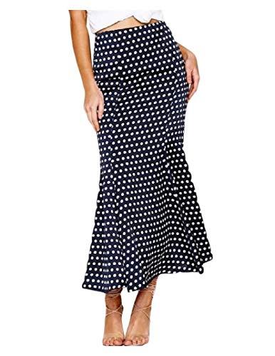 CuteRose Women High-Rise Polka Dot Mermaid Custom Fit Office Pencil Skirt Navy Blue M