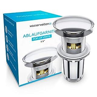 Wasserwelten Universal Ablaufgarnitur mit Überlauf für Waschbecken & Waschtisch - Chrom Pop Up Ventil – Ablaufventil, Abflussgarnitur aus Messing - Werkzeugloser Einbau mit Anleitung
