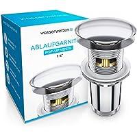 Wasserwelten® Universal Ablaufgarnitur mit Überlauf für Waschbecken & Waschtisch - Chrom Pop Up Ventil – Ablaufventil, Abflussgarnitur aus Messing - Werkzeugloser Einbau mit Anleitung