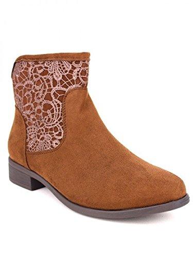 Cendriyon, Bottine Marron DENTELINA Chaussures Femme Marron