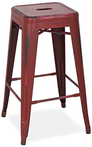 SuperStudio lo+demoda Ural Vintage - Taburete, Acero, 84 x 49 x 59 cm, Color Rojo