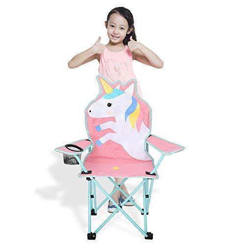 olyee Kinder, die Rasen und Campingstuhl Falten, Einhorn tragbarer Sitz-Stuhl-Stuhl mit Ineinander greifenhalter, Faltbarer Garten-Stuhl-Strand-Stuhl für Kinder