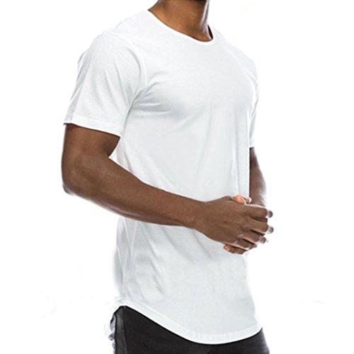 Elecenty Herren T-shirt ,HipHop Polo lange Sommerbluse Blusen Rundhals Solide Pulli Blusentop Männer Kurzarm-Shirt Sommerhemd Tops Haushemd Tägliche Pullover Freizeithemd Bluse (M, Weiß)