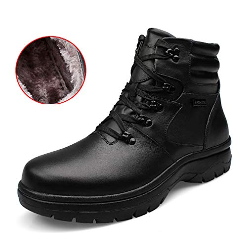 YAN Herrenschuhe Winter Martin Stiefel Schnee Stiefel High-Top-Armee Stiefel Werkzeug Stiefel Warme Baumwoll Schuhe Wanderschuhe Lässig/Täglich Wanderschuhe,Black,52
