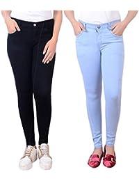 306b9257c5470 Ajaero Black, Ice Blue Denim Solid Jean for Women 511_Combo_BLK_ICE_BONE-32
