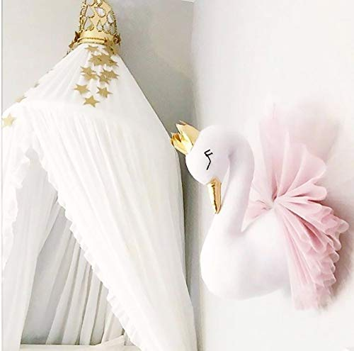 Hffan Krone Schwan Wandhalterung Dekoration Hauptdekoration Puppe Marionette mit Gaze Hängende Verzierung Süß Schön Modisch Elegant(Rosa,40cm) - Kronen Elegante