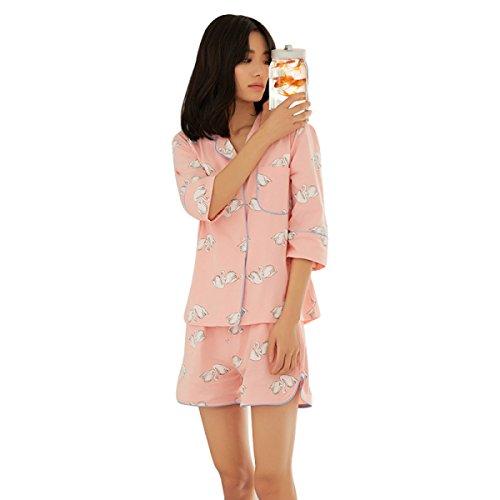 GSHGA Damen Pyjama Baumwolle Mit Kurzen Ärmeln Revers Studentenheimservice Mode Anzug Sommer Pink
