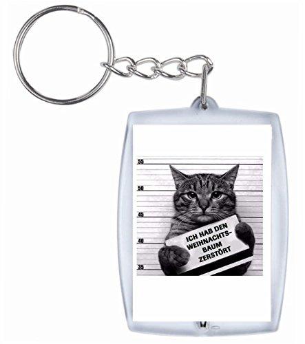 Druckerlebnis24 Schlüsselanhänger Ich Habe den Weihnachtsbaum zerstört Katze im Gefängnis aus hochwertigem Acryl - Keyring- Schlüsselring - Spass- Kult- DVD- Fun- JGA