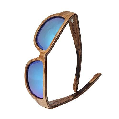 WOLA TYPHON Sport Sonnenbrille Holz Damen und Herren stylische Brille Eiche blau verspiegelt