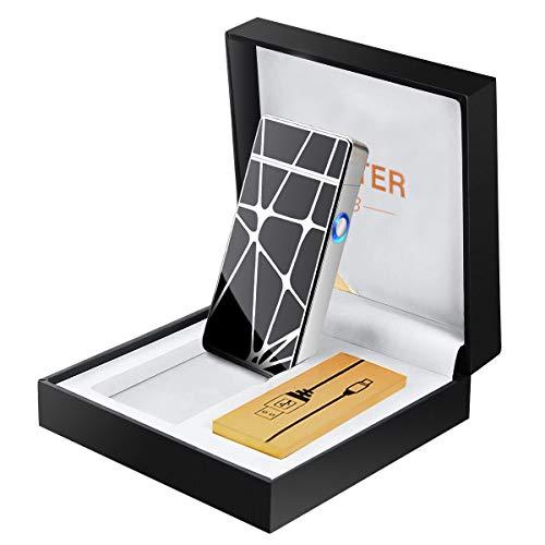 METALBAY Elektro Feuerzeug, USB Feuerzeug, E Feuerzeug Lichtboge Elektrisches Lighter Dopple Aufladbar Winddichte flammenlos Zigarettenanzünder Geometrische Figuren mit Geschenk Box