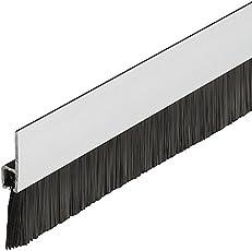 Gedotec Profi Bürstendichtung Streifenbürste Türbürste Türbodendichtung mit dichten Besatz | Länge 2000 mm | Türdichtung Stahl-Blech - Rosshaar schwarz | Baubeschläge