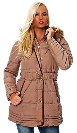10149 Fashion4Young Damen Steppmantel Steppjacke Long Jacke Mantel verfügbar in 5 Größen 2 Farben (M=36, Braun)