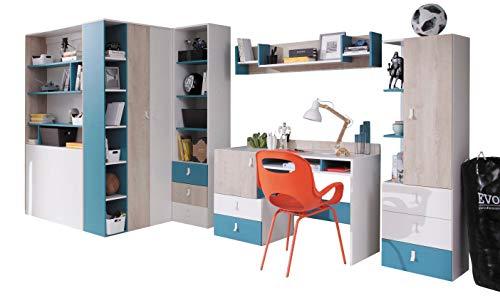KRYSPOL Jugendzimmer Set E Planet Schreibtisch, Wandregal, Garderobe, Regal (Eiche + Weiß Lux + Marine Farbe, Garderobe PL1 - mit Innenbeleuchtung)