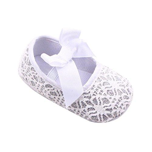 Uomogo® scarpine neonato estate pattini della ragazza del fiore del bambino sneaker antiscivolo mano morbida bambino calza (età: 6~12 mesi, bianca)