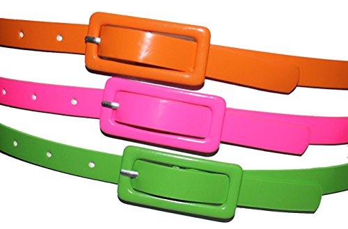 80er Jahre Neon Gürtel | 3er Set | verschiedene Größen, Größe:100cm