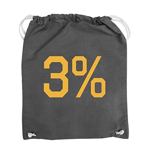Comedy Bags - 3% - LOGO - Turnbeutel - 37x46cm - Farbe: Schwarz / Pink Dunkelgrau / Gelb