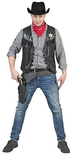Kostüm Cowboyweste Ryder Herren Größe 52/54 / Cowboykostüm Wilder Westen Herrenkostüm Schwarz Karneval Fasching Pierro's (Schwarze Weste Kostüm)