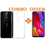 Sanguine -Combo Offer Transparent- Premium Quality_Tempered Glass & Back Cover_ Soft Case Cover For Nokia 6.1 Plus