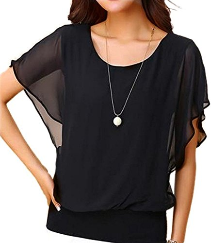 VIISHOW Damen Sommer Casual Loose Fit Kurzarm Batwing T-Shirt Chiffon Top Bluse(Schwarz L)