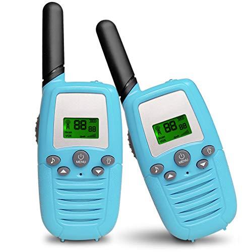 Aiskki 2X Walkie Talkie Kinder Funkgerät Set 16 Kanäle 1-3KM Reichweite LC-Display 2-Wege Radio mit LED-Taschenlampe Walki Talki Geschenke Spielzeug, Blau