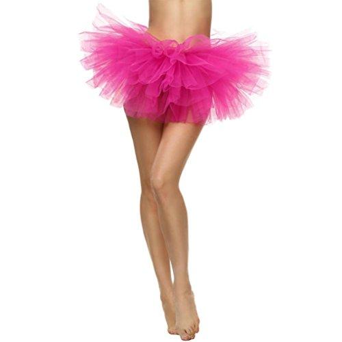 (Huihong Women'S Short Tutu Rock Erwachsenen 5 Schicht Rock Petticoat Dress Minirock Tutu Ballerina Elastisches Dehnbares TüLlkleid Unterrock (Hot Pink, Free Size))