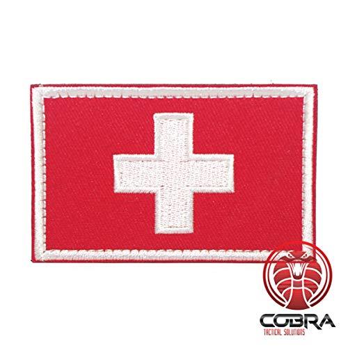 Cobra Tactical Solutions Schweizer Flagge mit Hintergrund in Weiß oder Rot, Bestickt, Airsoft Paintball Klett Emblem Abzeichen (Rot) -
