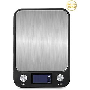 5 kg Glasfläche und LCD-Anzeige Küchenwaage digital weiß Haushaltswaage