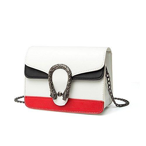 Sacchetto di estate, versione coreana del sacchetto di spalla, mini zaino obliquo, borse della catena selvaggia di modo ( Colore : Rosso ) Bianca