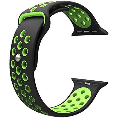 Para Apple Watch Band, Wearlizer suave silicona Sport correa de repuesto para ambos serie 1y Serie 2, color 38mm BlackGreen